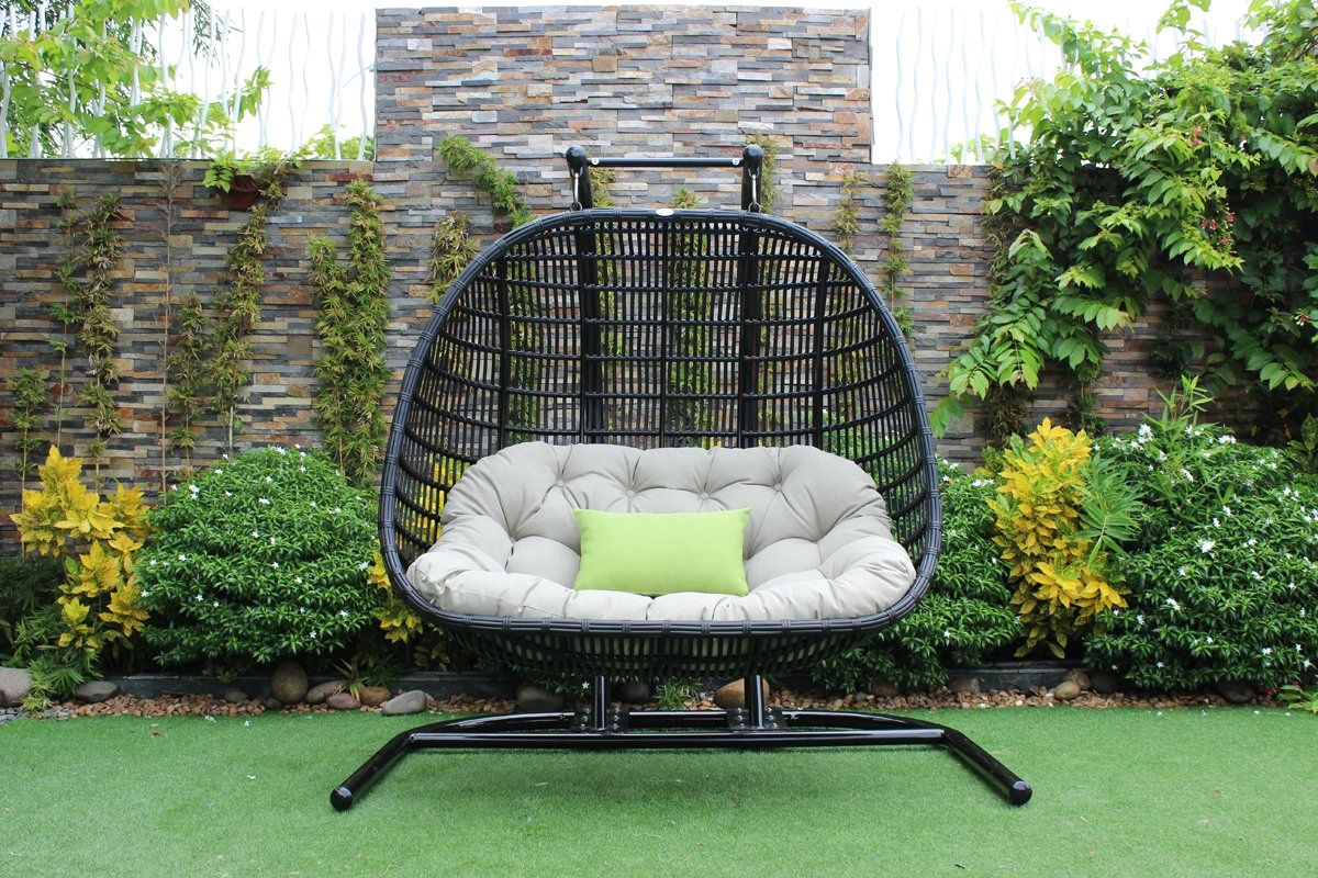 Hanging Outdoor Chairs Buy Vig Furniture Vgatrahm 026 Renava San Juan Outdoor Black Beige Hanging Chair At Contemporary Furniture Warehouse