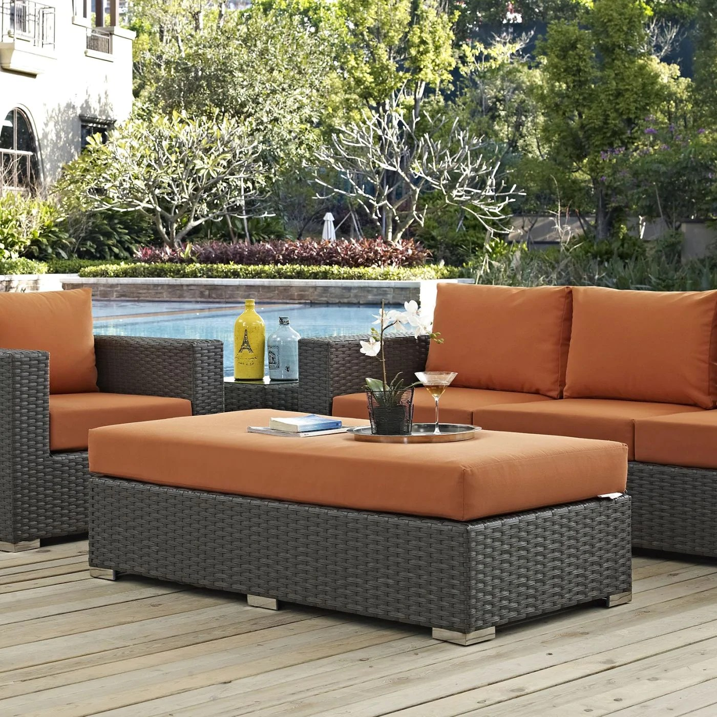 Patio Outdoor Modway Outdoor Ottomans On Sale Eei 1863 Chc Tus Sojourn Outdoor Patio Fabric Rattan Sunbrella Rectangle Ottoman Only Only 364 00 At Contemporary
