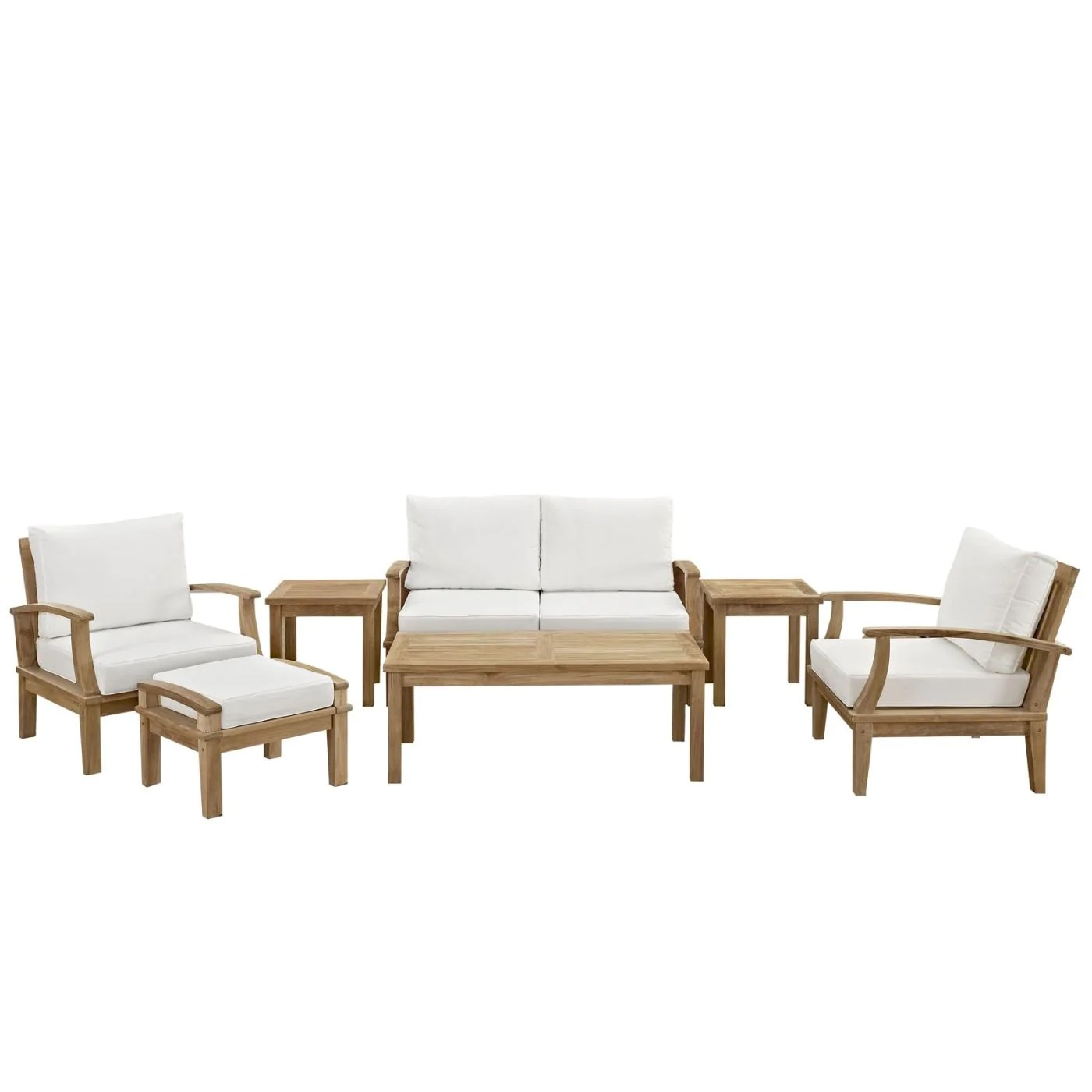 7 Piece Patio Set Modway Outdoor Patio Sets On Sale Eei 1486 Nat Whi Set Marina 7 Piece Outdoor Patio Teak Sofa Set Only Only 2 230 00 At Contemporary Furniture