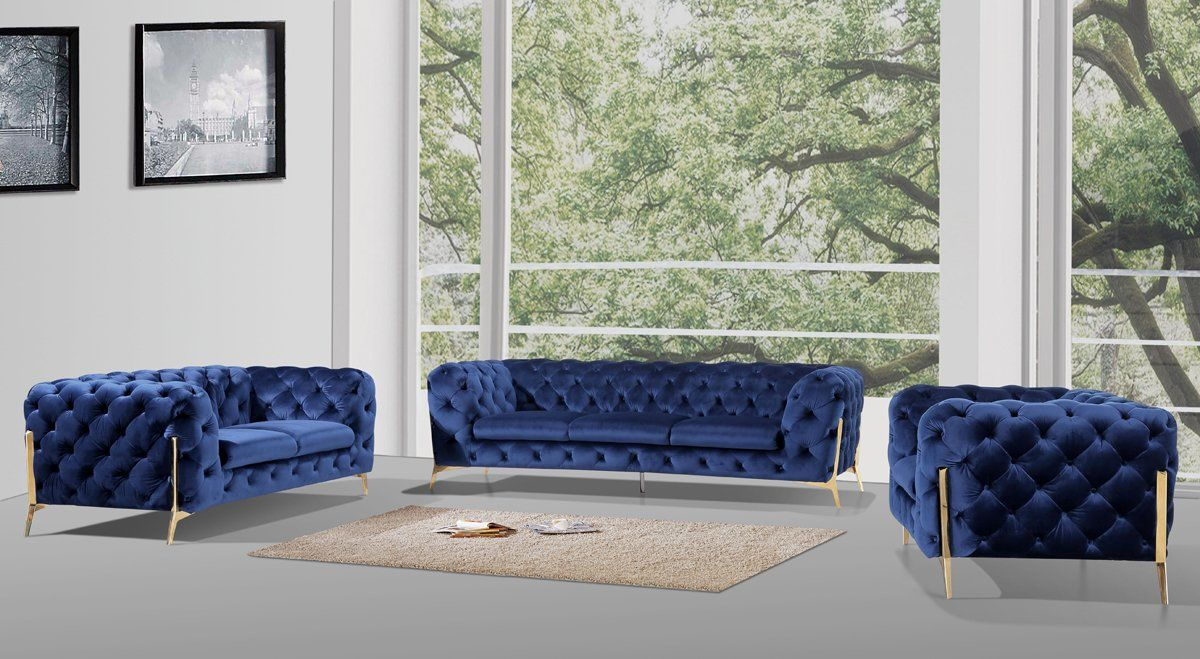 Divani Casa Encore Vig Furniture Divani Casa Sheila Modern Dark Blue Fabric Sofa Set At Contemporary Furniture Warehouse
