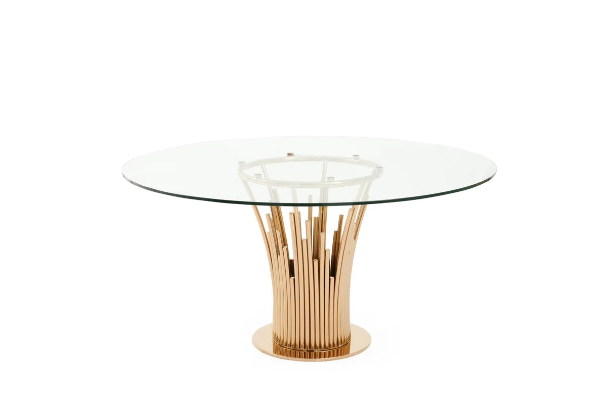 Modern Round Glass Dining Table Vig Furniture Vgvct817 Rnd Modrest Paxton Modern Round Glass Rosegold Dining Table Sale At Contemporary Furniture Warehouse Today Only