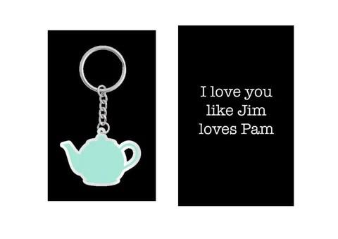 The Office Merchandise Keychain \u2013 Pam and Jim Teapot Keychain