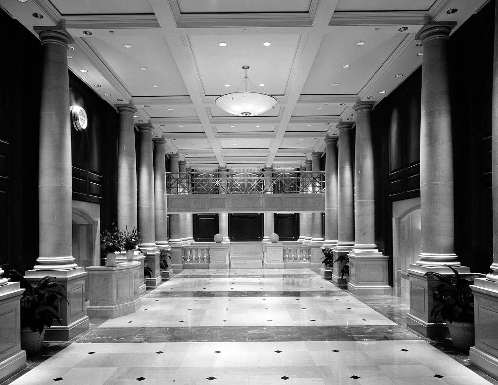 Black And White Marble Floors Lavish Interior For Office Building With Stone Pillars And Marble Floors