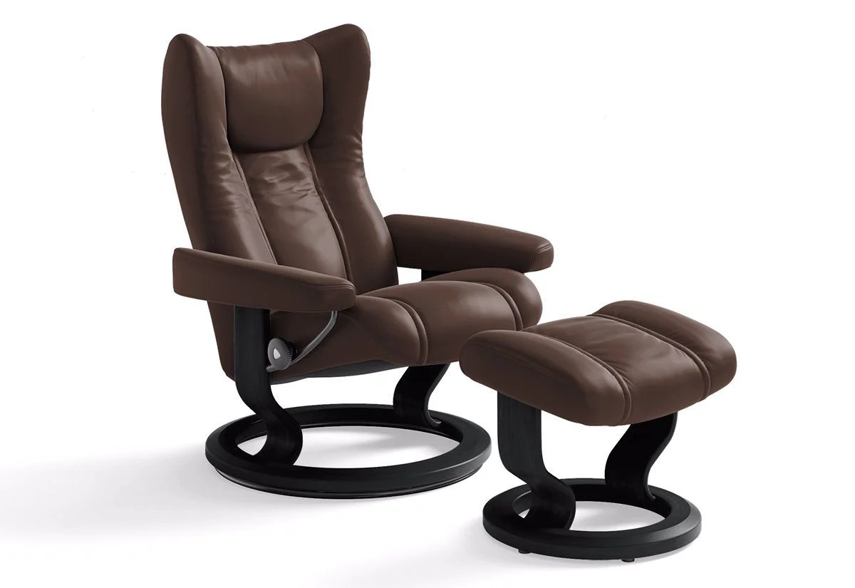 Stressless Wing Classic Legcomfort Wing Large Classic Recliner And Ottoman Stressless By
