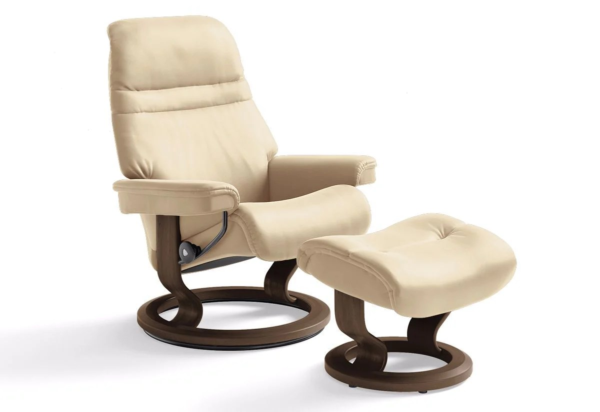 Stressless Amazon Sunrise Small Classic Recliner And Ottoman Stressless By