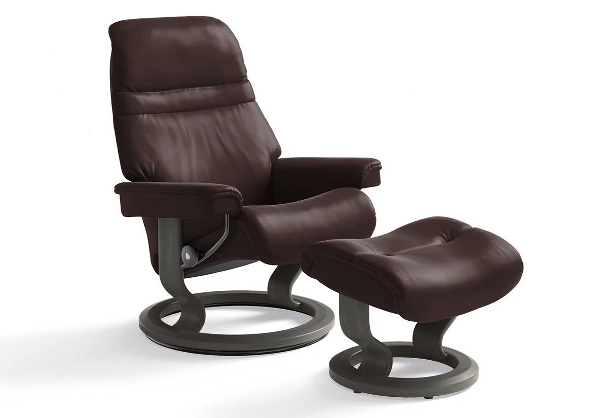 Ekornes Consul Large Sunrise Large Classic Recliner And Ottoman Stressless By