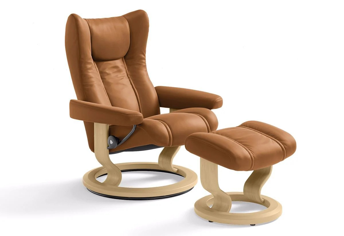 Stressless Wing Classic Legcomfort Wing Medium Classic Recliner And Ottoman Stressless By