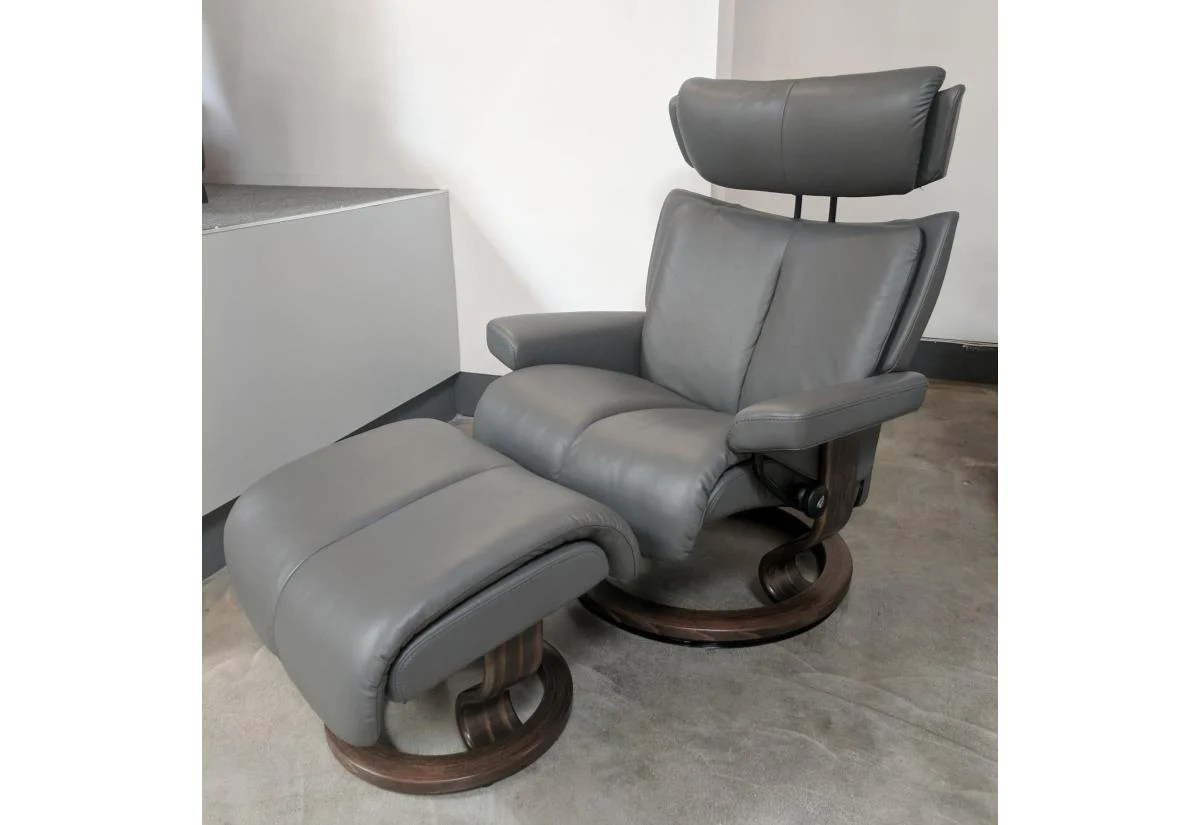 Stressless-world.com Magic Large Recliner Ottoman Stressless By Ekornes Paloma Metal Grey