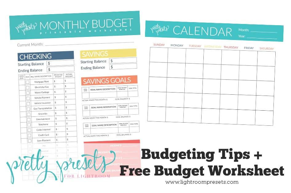 printable budget worksheet