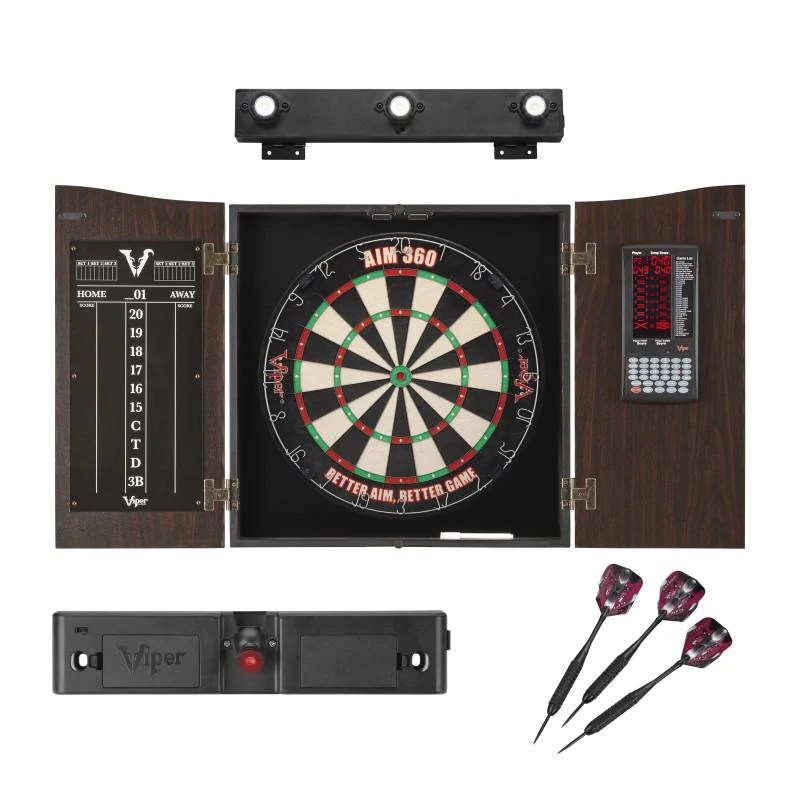 Bett System Viper Vault Deluxe Dartboard Cabinet With Integrated Pro Score With Included Aim 360 Laser Line Throwline And Shadowbuster Cabinet Light System
