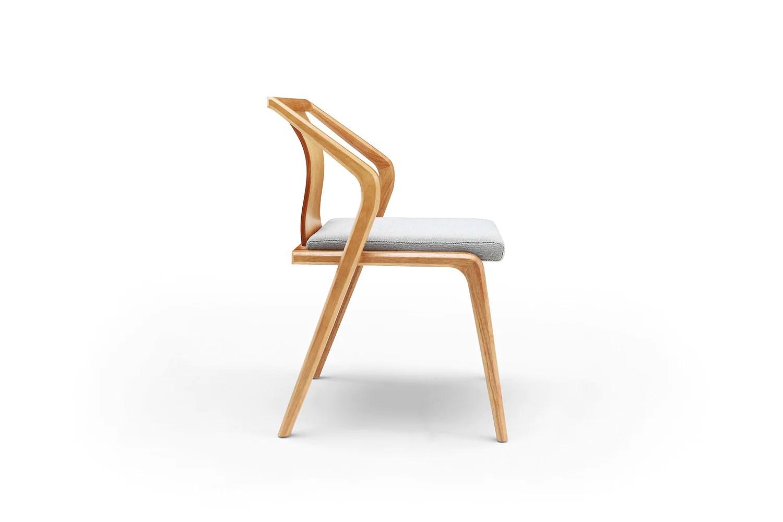 Chaise Design En Bois Et Coussin Gris Dewarens