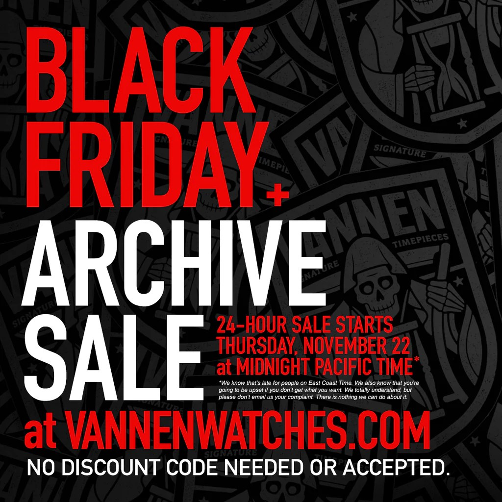 Black Friday Sale Vannen S Black Friday Archive Sale Starts November 22 At Midnight