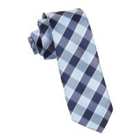 Light and Navy Blue Checkered Skinny Tie | Thin Narrow ...
