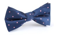 Navy Blue - Pink Polka Dots - Bow Tie | Mens Ties ...