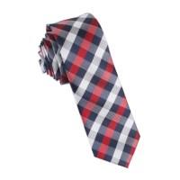 Navy Checkered Scotch Red Skinny Tie | Thin Narrow Slim ...