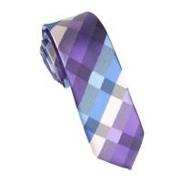 Royal Violet Checkered Skinny Tie | Thin Narrow Slim Ties ...