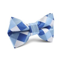Sea and Light Blue White Checkered Kids Bow Tie | Kid ...