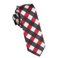 White Black Maroon Checkered Skinny Tie | Men Thin Narrow ...