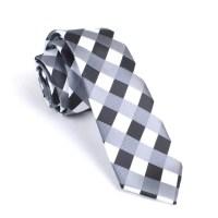 Black White Grey Checkered Skinny Tie | Men Ties ...