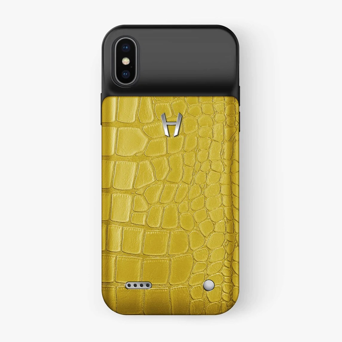 Battery Case For Iphone X Alligator Battery Case Iphone X Xs Yellow Stainless Steel