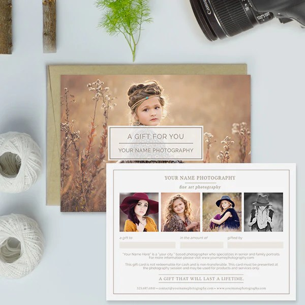photography gift certificate templates