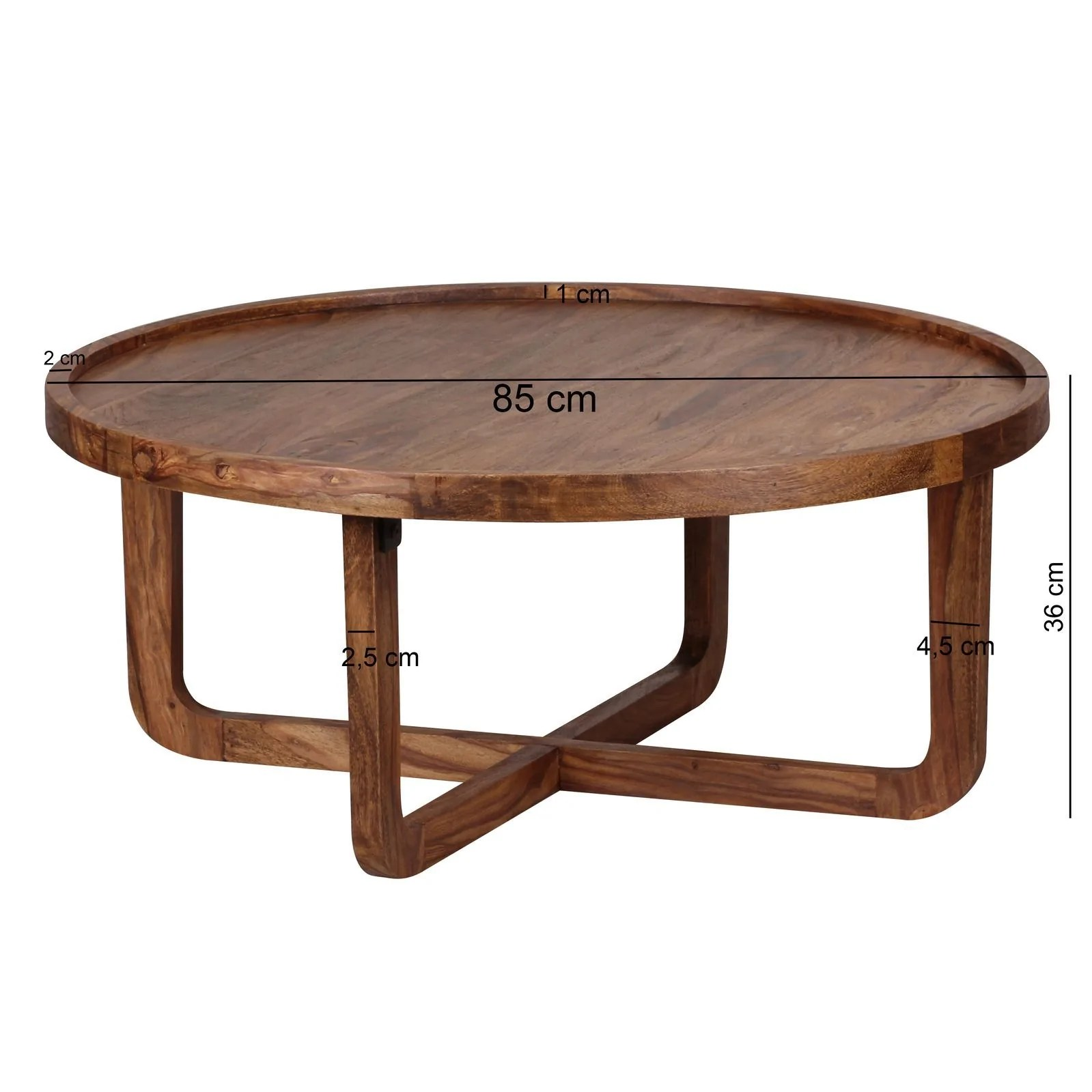 Couchtisch Industrial Oval Solid Wood Curved Round Coffee Table