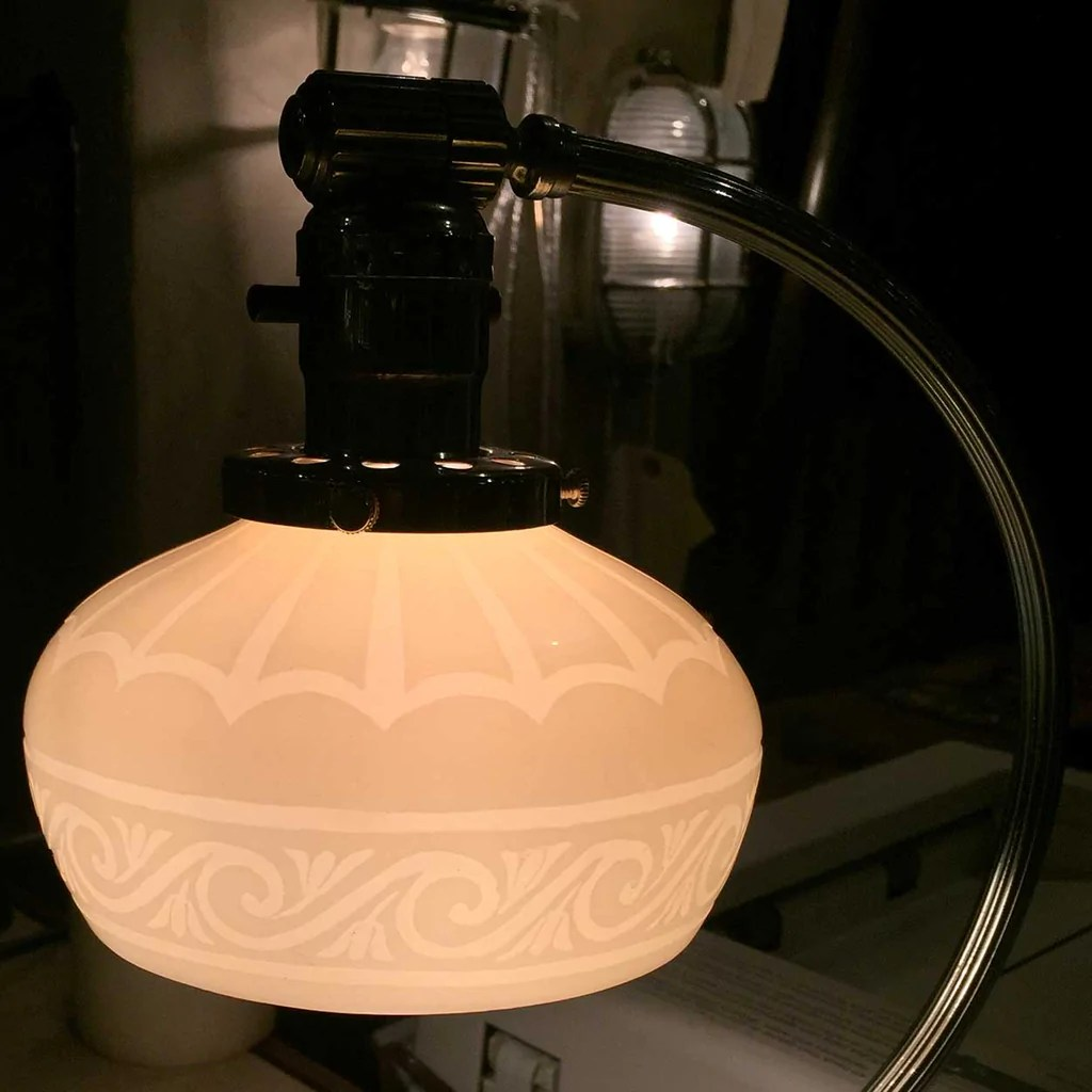 Glass Lamp Art Small American Steuben Carder Period Engraved Calcite Art Glass Lamp Shade