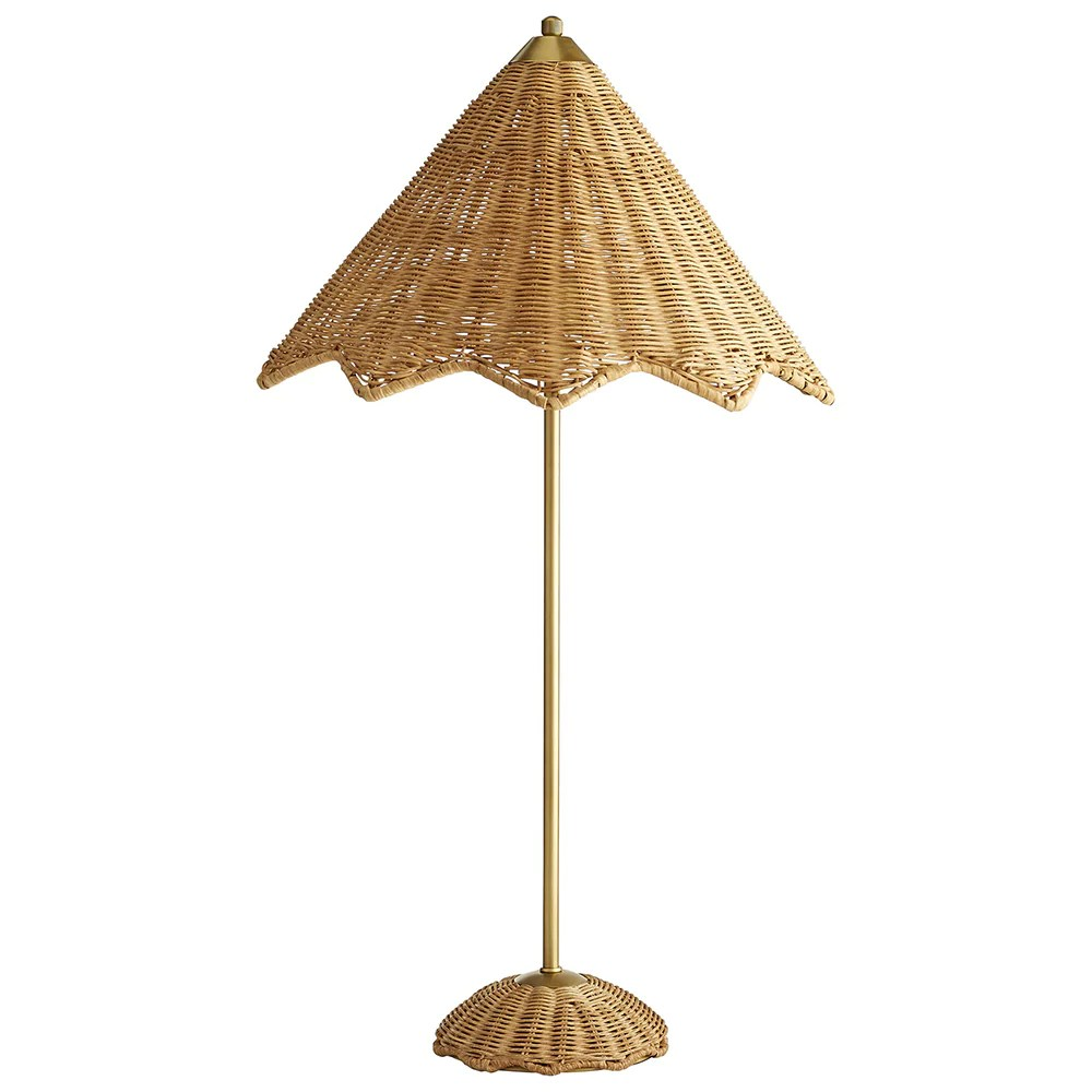 Rattan Table Arteriors Parasol Scalloped Rattan Table Lamp
