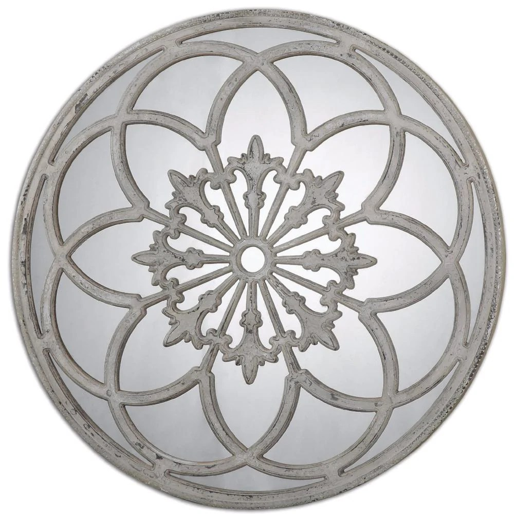 Decorative Mirror Conselyea Distressed Round Decorative Mirror