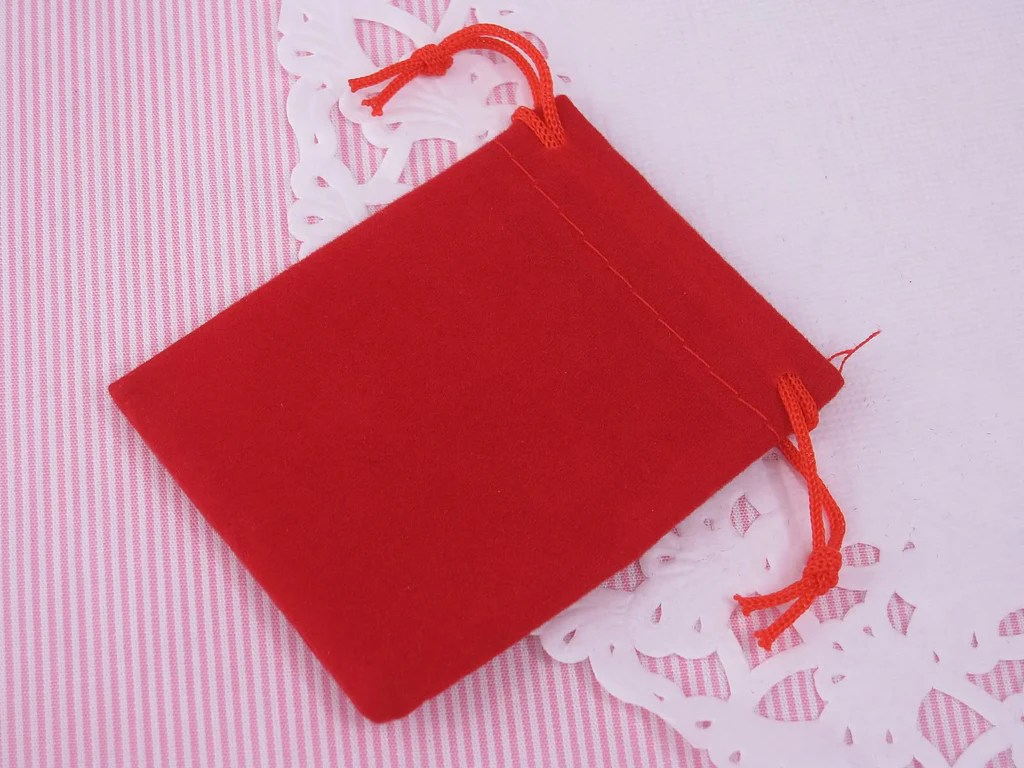 Wholesale Velvet Jewelry Pouches Small Red Velvet Gift Pouches Bags W Drawstring For Jewelry