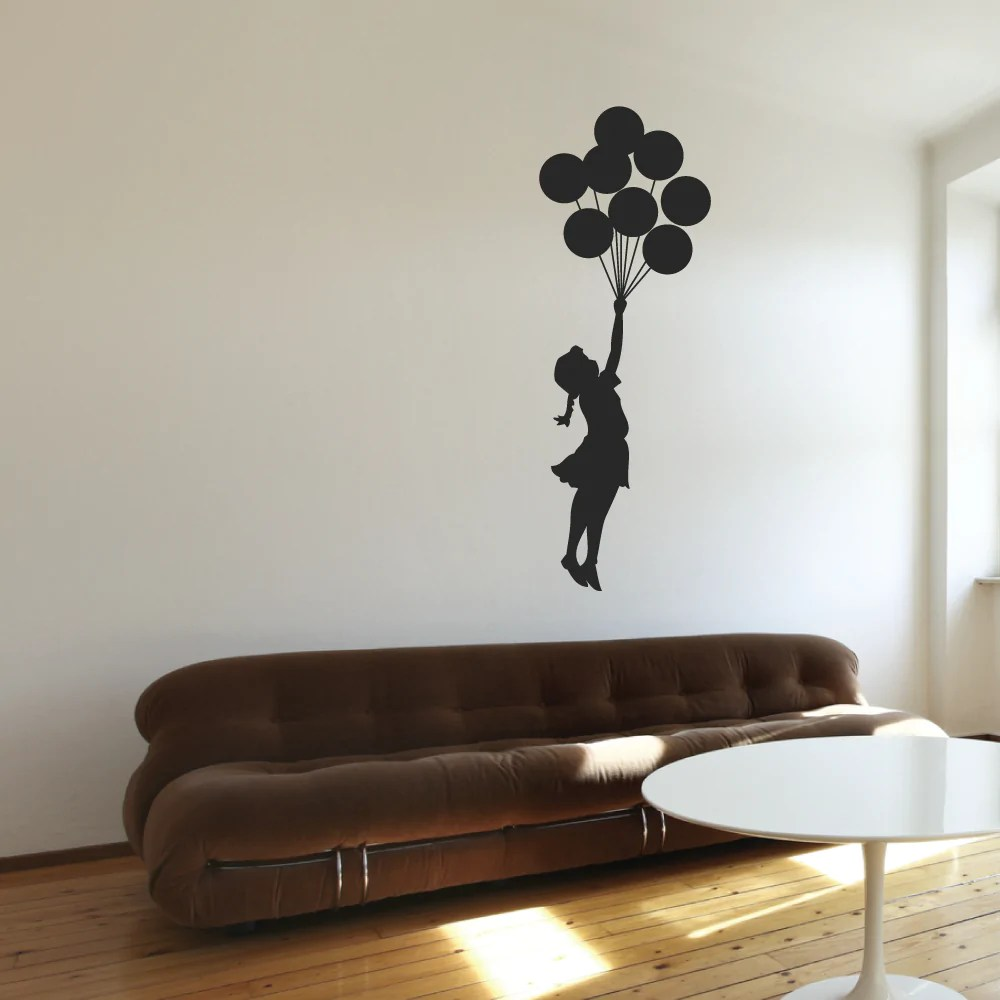Cut Boy And Girl Wallpaper Banksy Floating Girl Wall Stickers By Wallboss Wallboss