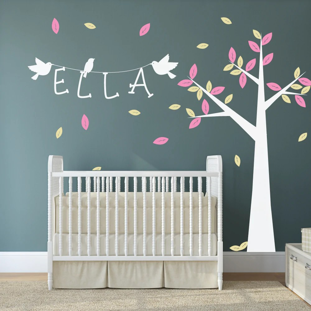Baby Girl Nursery Wallpaper Uk Nursery Tree With Name And Birds Wall Stickers By Wallboss
