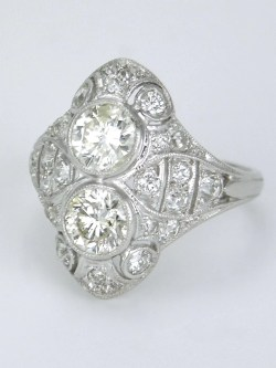 Cushty Platinum Two Stone Ring Two Stone Ring Jared Two Stone Ring Settings Platinum Two Stone Ring Art Deco Diamond Art Deco Diamond