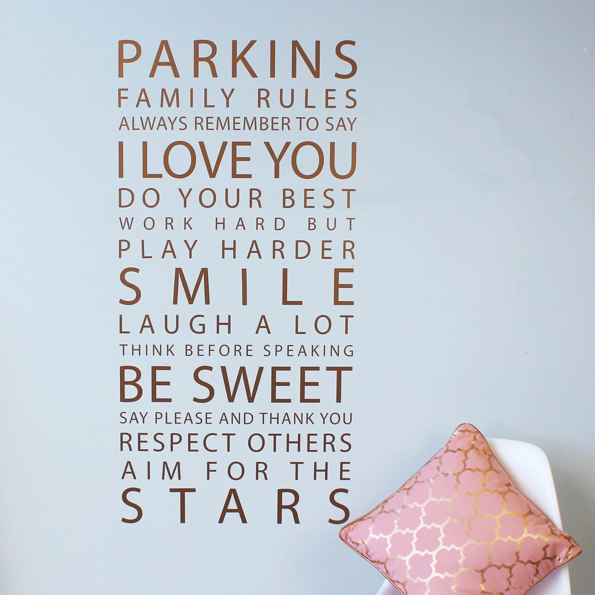 Personalised Sticker Personalised Metallic Gold Family Rules Wall Sticker Parkins