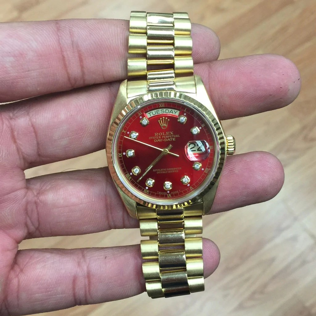 Rolex Daydate Rolex Day Date 18k Yellow Gold Red Diamond Dial Watch