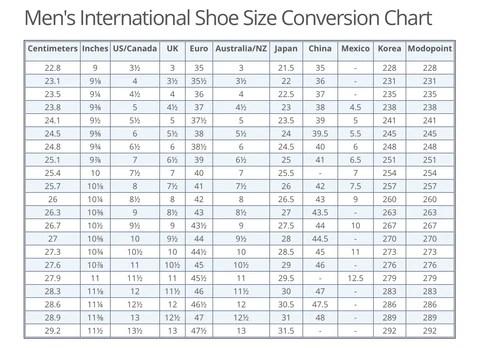 Mens Shoe Size Conversion Eu To Uk Ltt