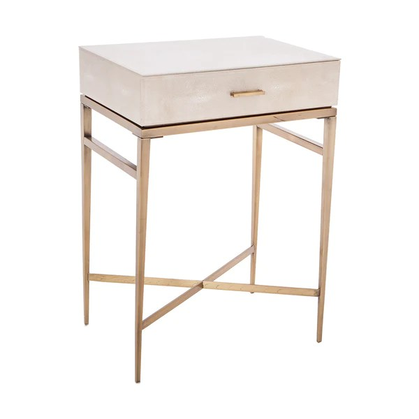 Metall Nachttisch Lucile Taupe Shagreen & Gold Side Table – Shropshire Design