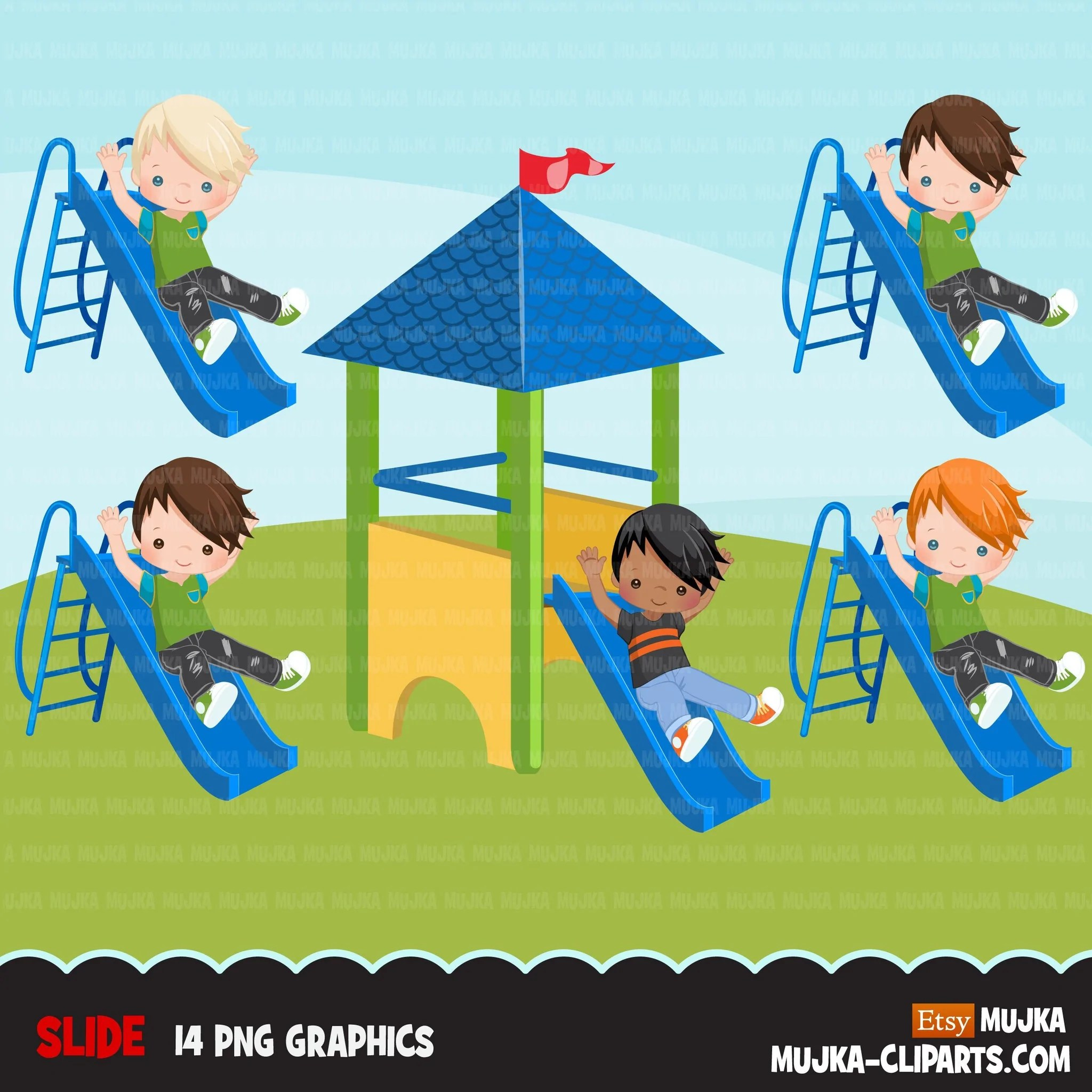 Playground Clipart Boy On Slide Outdoors Park Slide Graphics Kinder Mujka Cliparts