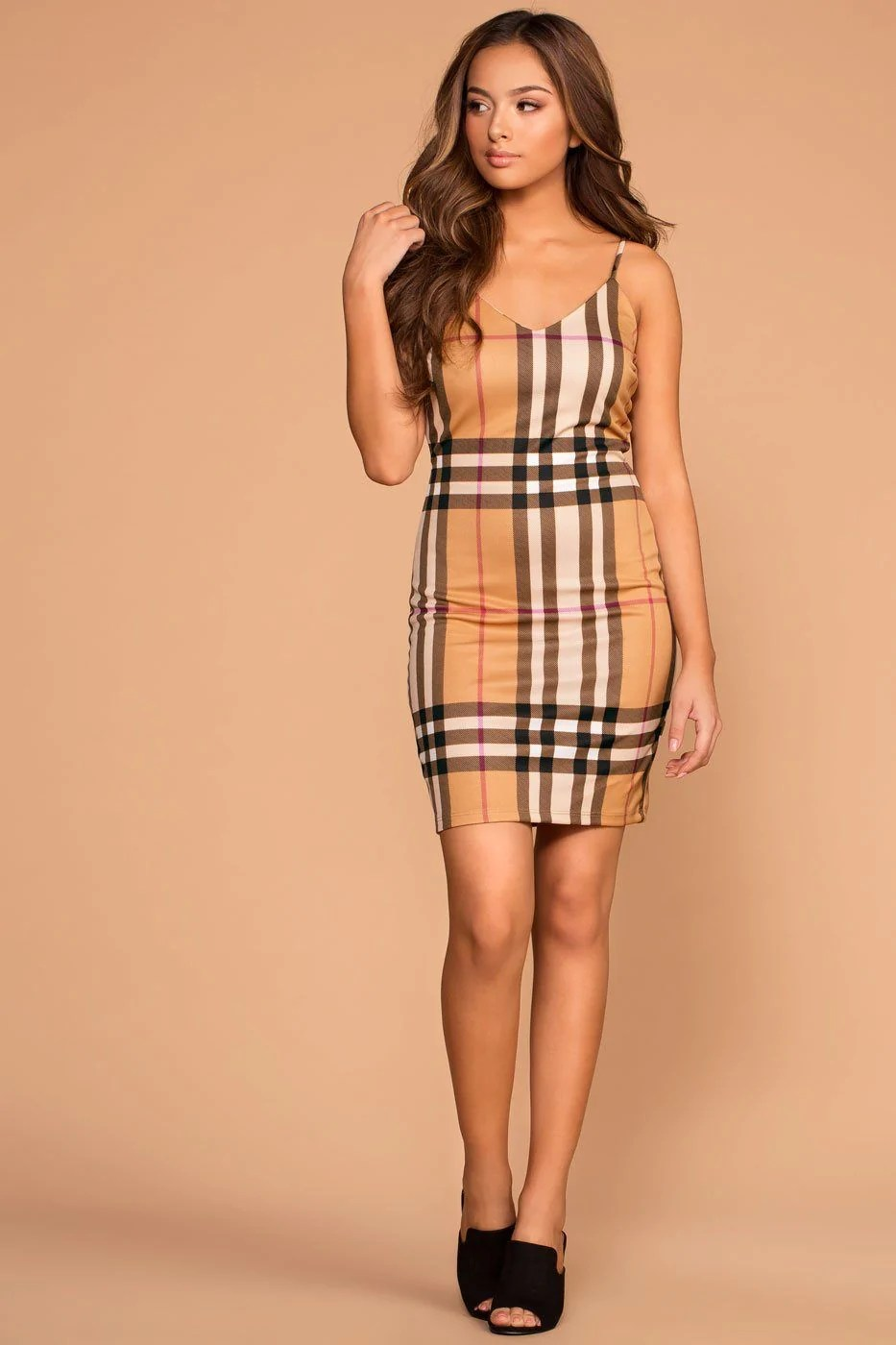 Plaid Taupe Meryl Taupe Plaid Bodycon Dress Sabora