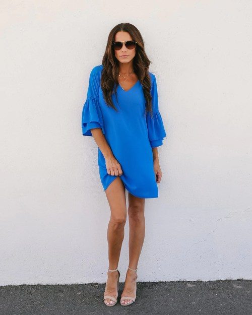 Charming Bellina Bell Sleeve Shift Dress Cobalt Blue Bellina Bell Sleeve Shift Dress Cobalt Blue Vici Cobalt Blue Dress Makeup Cobalt Blue Dress Lace