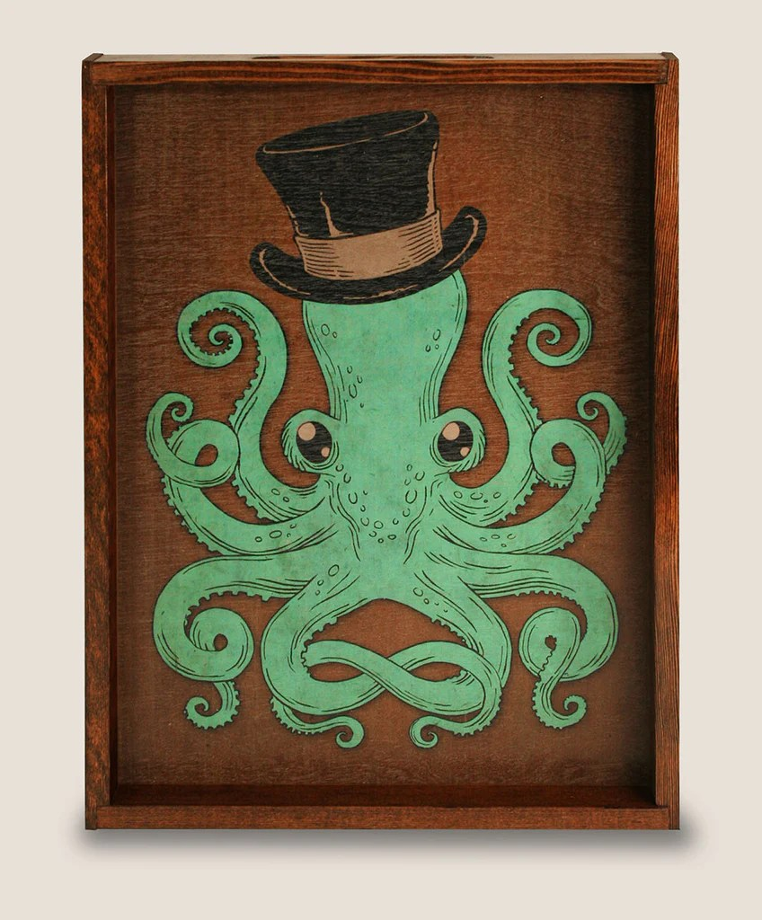 Cool Octopus Art Gentleman Octopus Large Serving Tray Trixie Milo