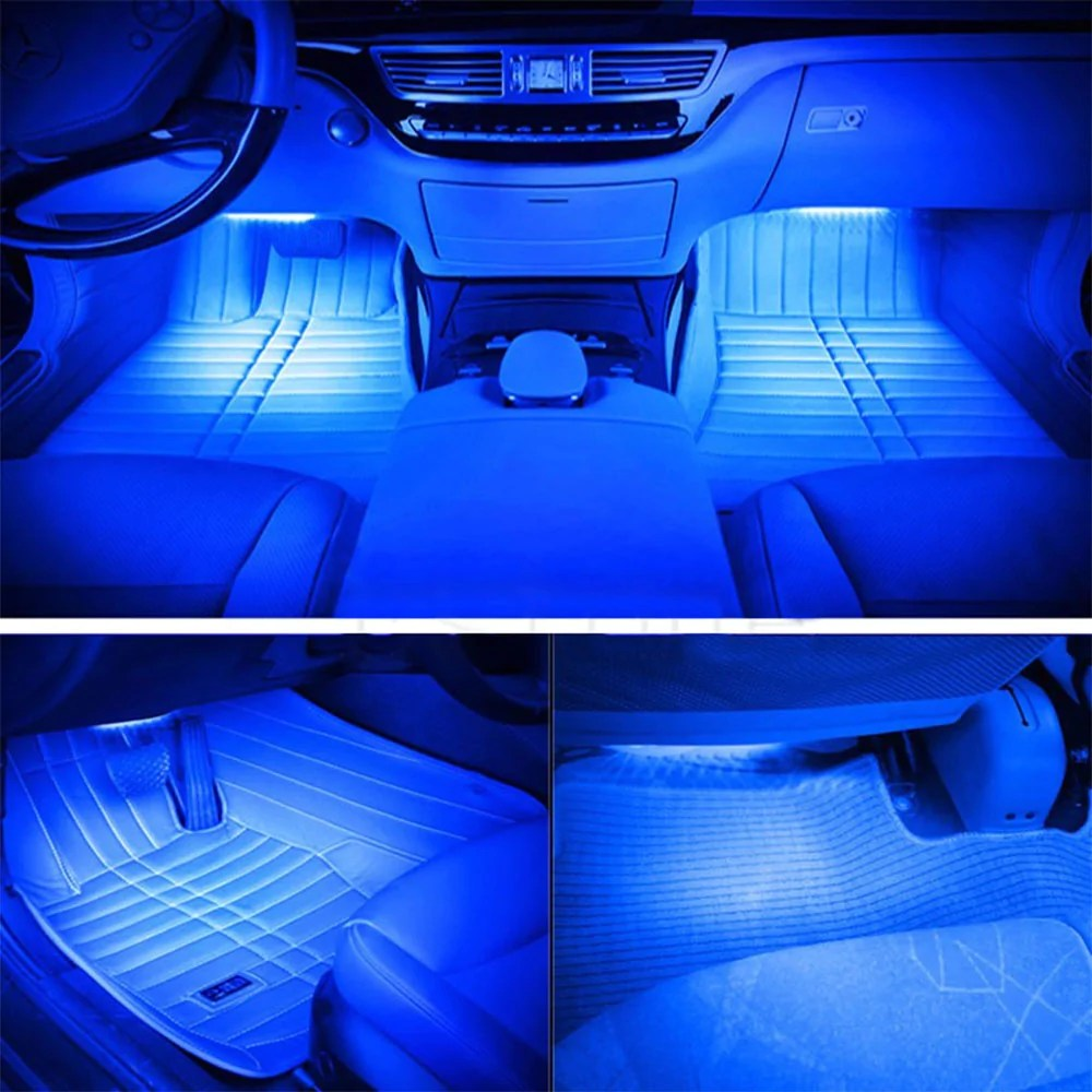 Led Interieur Auto 4 In 1 Auto Styling Blue Led Auto Sfeer Lamp Led Strip Verlichting Interieur Lichtbron 12 Led Auto Accessoires Universele
