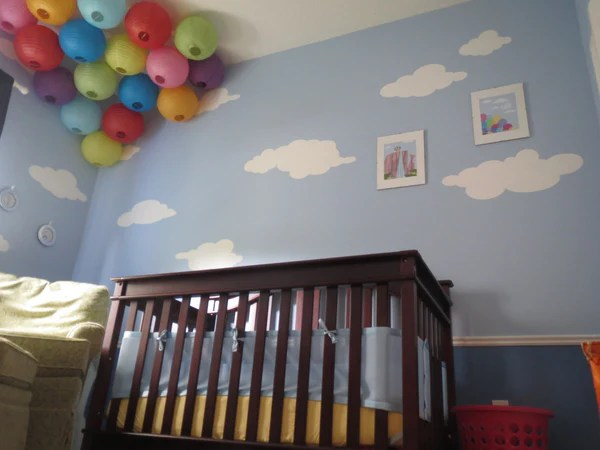 Baby Girl Nursery Removable Wallpaper Sky Is The Limit With Cloud Wall Stencils For Up Themed