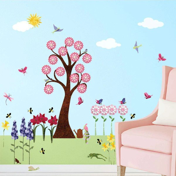 Wallpaper Ideas For Baby Girl Nursery Flower Wall Decals For Girls Room Peel Amp Stick Flower
