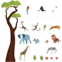 Jungle Safari Wall Decals  Peel & Stick Tree Sticker and ...