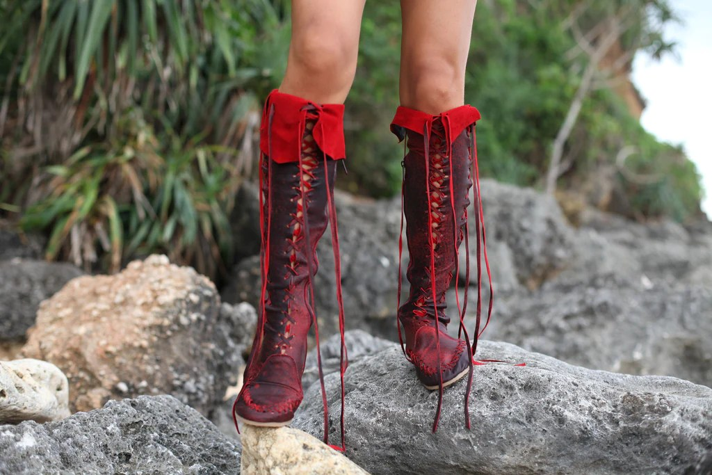 Leather Boots Antique Red Knee High Leather Boots