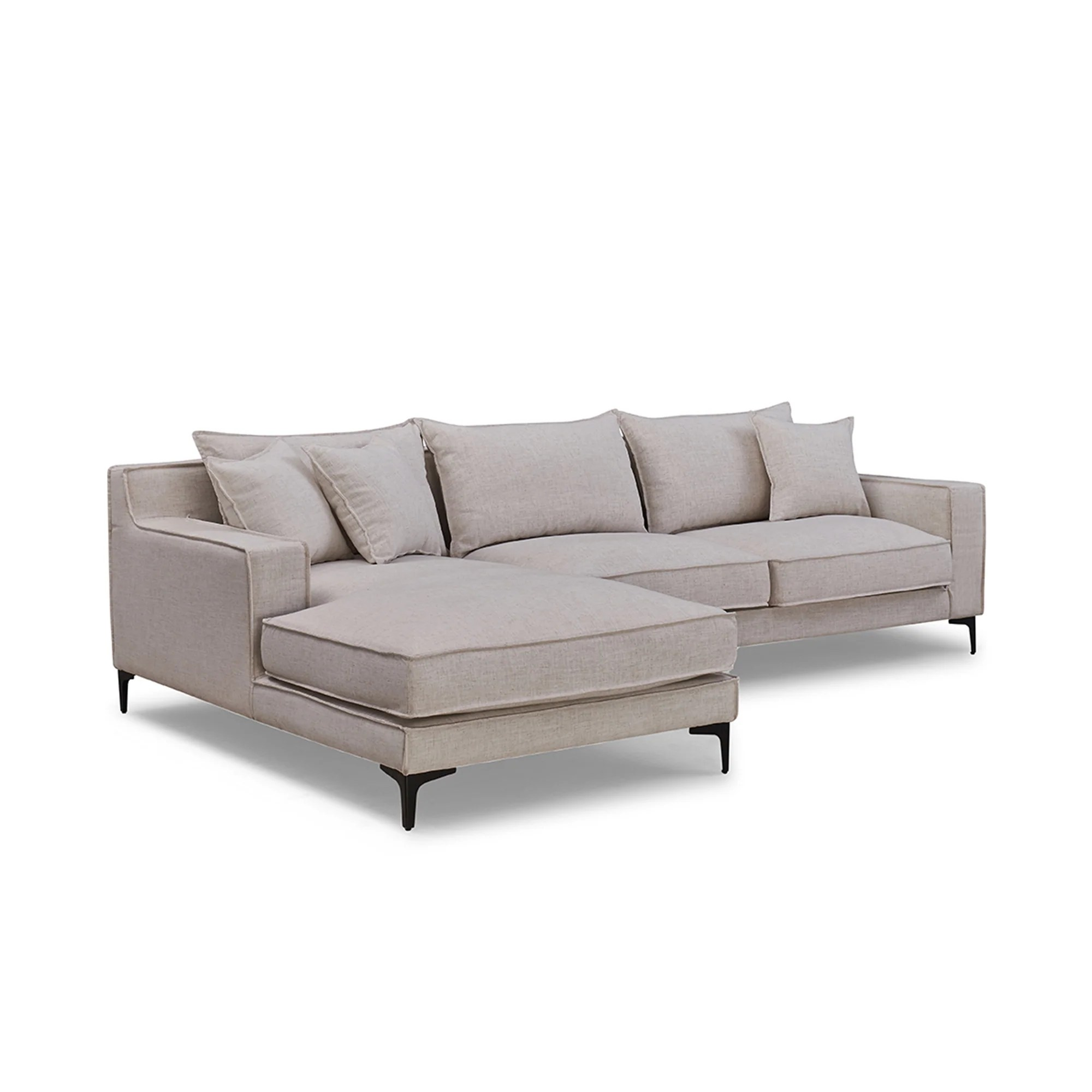 Kayden Right Side L Shaped Modular Sofa Bois Cuir
