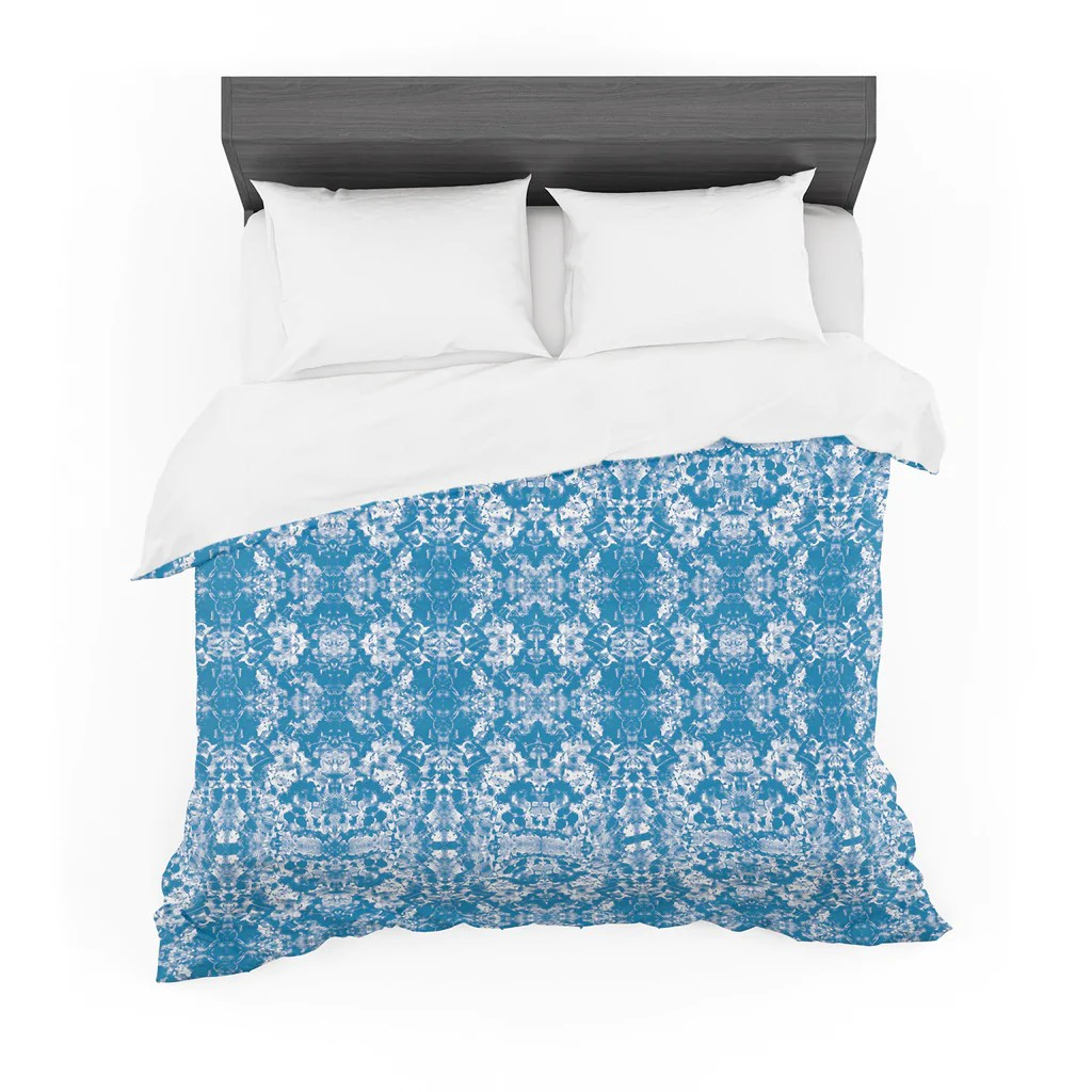 Damask Duvet Blue Modern Damask Featherweight Duvet By Carolyn Greifeld Kess Inhouse