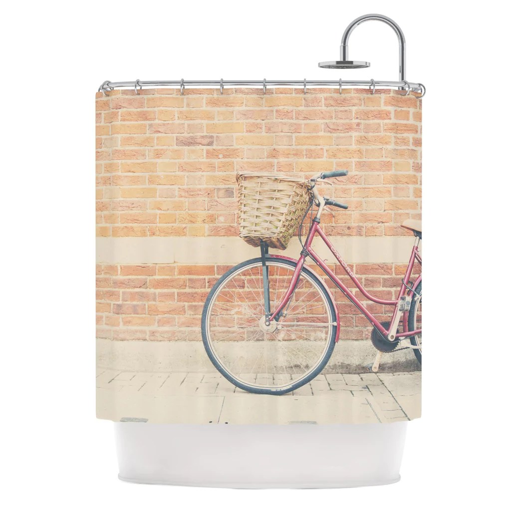 Red And Brown Shower Curtain A Red Bicycle Shower Curtain By Laura Evans Kess Inhouse