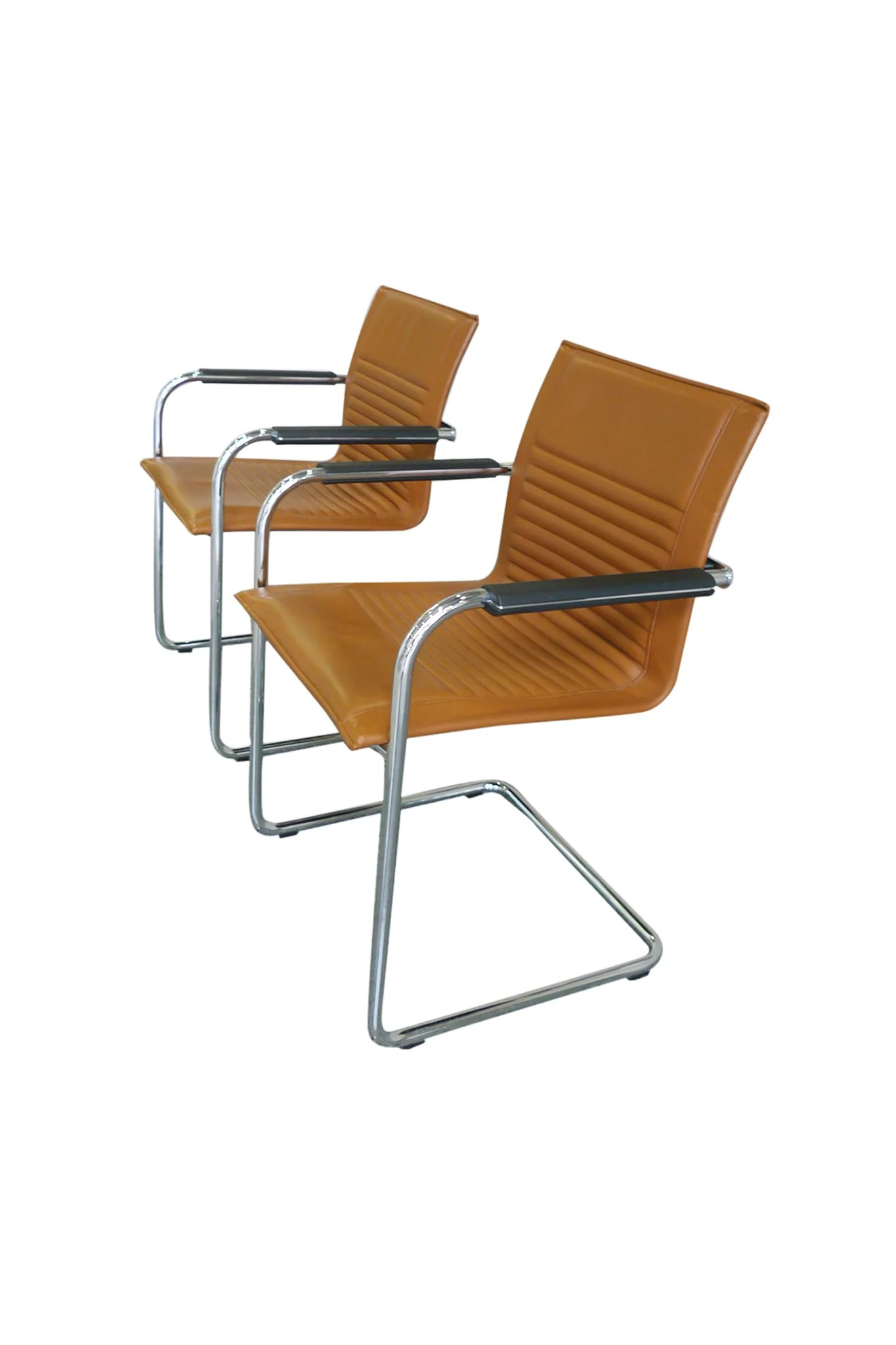 Arm Chairs Pair Of Modern Tan Haworth Exchange Arm Chairs In The Style Of Mart Stam